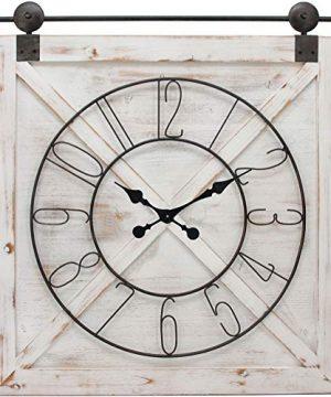 FirsTime Co Farmstead Barn Door Wall Clock 29H X 27W Whitewash Metallic Gray Black 0 0 300x360