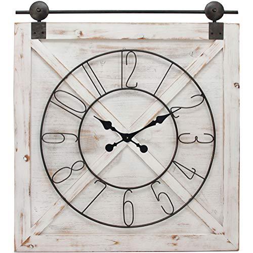 FirsTime Co Farmstead Barn Door Wall Clock 29H X 27W Whitewash Metallic Gray Black 0 0