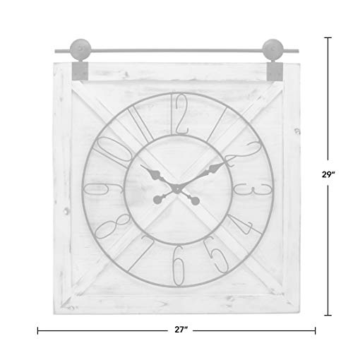 FirsTime Co Farmstead Barn Door Wall Clock 29H X 27W Whitewash Metallic Gray Black 0 3