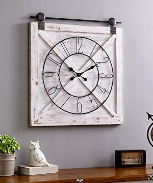 FirsTime Co Farmstead Barn Door Wall Clock 29H X 27W Whitewash Metallic Gray Black 0 300x360