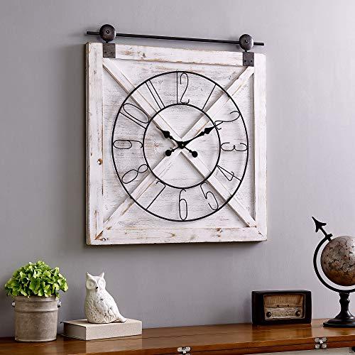 FirsTime Co Farmstead Barn Door Wall Clock 29H X 27W Whitewash Metallic Gray Black 0