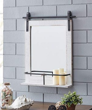 FirsTime Co Ivywood Barn Door Shelf Wall Mirror 25H X 20W Rustic White Aged Black 0 300x360