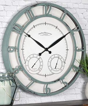 FirsTime Co Laguna Outdoor Wall Clock 18 Aged Teal 0 300x360