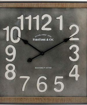 FirsTime Co Liam Industrial Square Wall Clock 24H X 24W Metallic Gray White Black Antique Brown 0 0 300x360