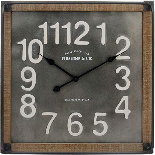 FirsTime Co Liam Industrial Square Wall Clock 24H X 24W Metallic Gray White Black Antique Brown 0 0