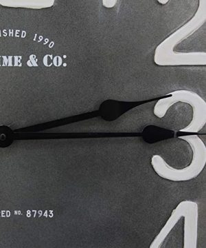 FirsTime Co Liam Industrial Square Wall Clock 24H X 24W Metallic Gray White Black Antique Brown 0 1 300x360