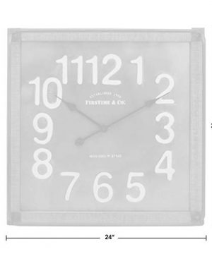 FirsTime Co Liam Industrial Square Wall Clock 24H X 24W Metallic Gray White Black Antique Brown 0 3 300x360