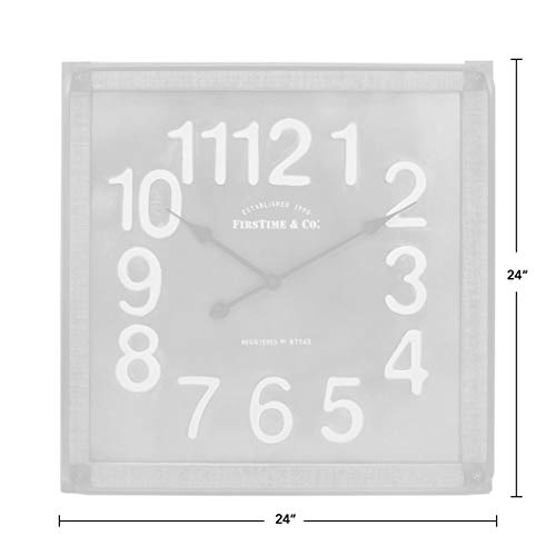 FirsTime Co Liam Industrial Square Wall Clock 24H X 24W Metallic Gray White Black Antique Brown 0 3