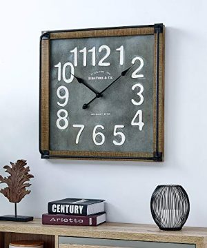 FirsTime Co Liam Industrial Square Wall Clock 24H X 24W Metallic Gray White Black Antique Brown 0 300x360