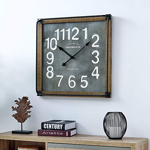 FirsTime Co Liam Industrial Square Wall Clock 24H X 24W Metallic Gray White Black Antique Brown 0