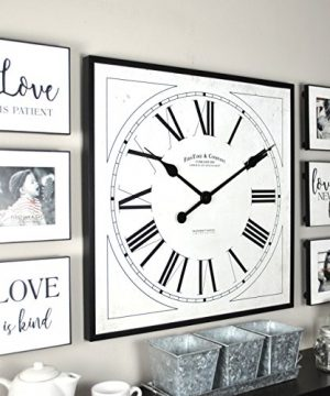 FirsTime Co Love Frame Gallery Set Wall Clock 20 6 Plaques White 0 300x360