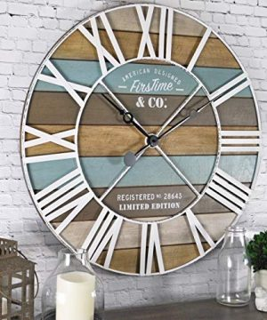 FirsTime Co Maritime Planks Wall Clock 24 Multicolor 0 300x360