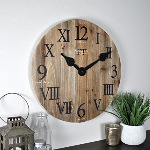 FirsTime Co Rustic Barn Wall Clock 18 Natural Wood 0