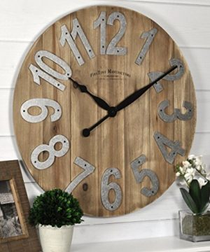 FirsTime Co Slat Wood Wall Clock 225 Tan 0 300x360
