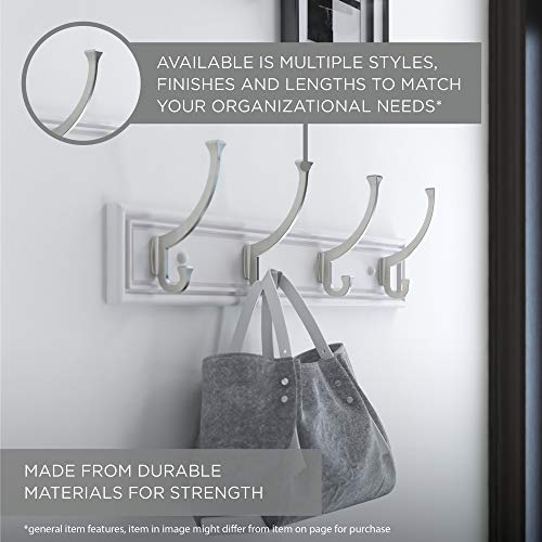 Franklin Brass FBHDCH4 WSE R 16 Hook Rail Rack With 4 Heavy Duty Coat And Hat Hooks In White Satin Nickel 0 3