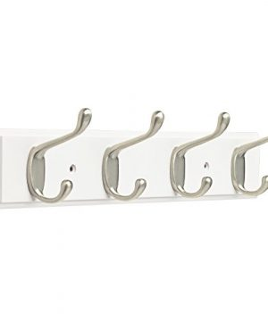 Franklin Brass FBHDCH4 WSE R 16 Hook Rail Rack With 4 Heavy Duty Coat And Hat Hooks In White Satin Nickel 0 300x360