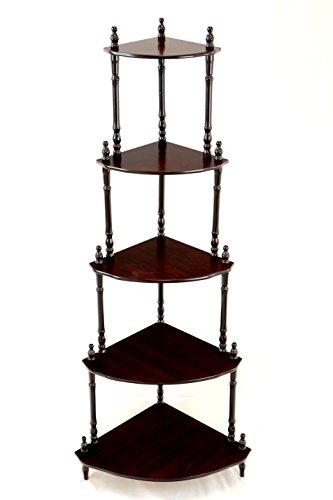 Frenchi Home Furnishing 5 Tier Corner Stand Dark Cherry 0 0