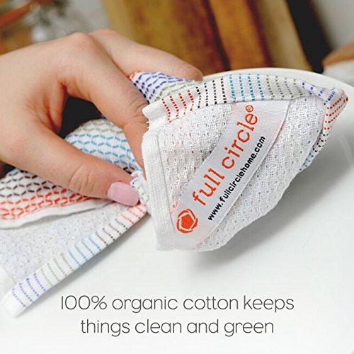 Full Circle Tidy 100 Organic Cotton Dish Cloths Set Of 3 Grayscale 0 3