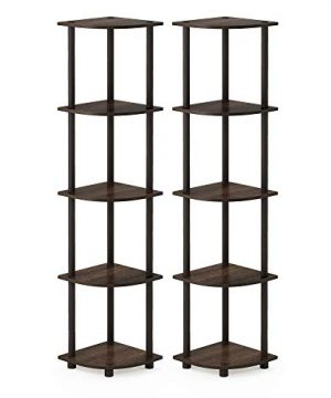 Furinno Turn N Tube 5 Tier Corner Display Rack 2 Pack 2 Pack WalnutBrown 0 300x360