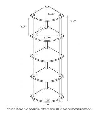 Furinno Turn N Tube 5 Tier Corner Display Rack Multipurpose Shelving Unit French Oak GreyBlack 0 0 300x360