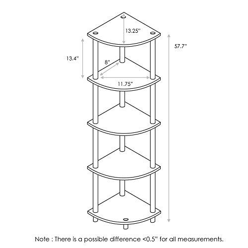 Furinno Turn N Tube 5 Tier Corner Display Rack Multipurpose Shelving Unit French Oak GreyBlack 0 0