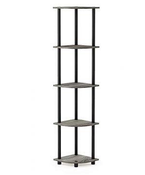 Furinno Turn N Tube 5 Tier Corner Display Rack Multipurpose Shelving Unit French Oak GreyBlack 0 300x360