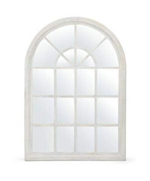 GDF Studio Sebastiane Traditional Arched Windowpane Mirror White Wash 0 300x360