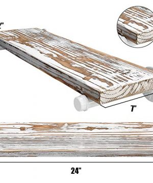 GLUCK Rustic Floating Shelves Wood Floating Shelves Floating Wall Shelves Bathroom Shelves Kitchen Shelves Home Dcor Rustic White Chipped Paint Look On Real Solid Wood 24x7x12 0 1 300x360