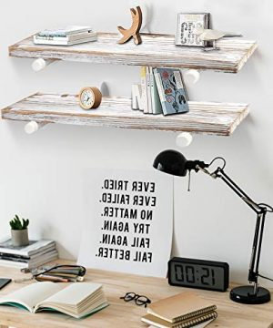 GLUCK Rustic Floating Shelves Wood Floating Shelves Floating Wall Shelves Bathroom Shelves Kitchen Shelves Home Dcor Rustic White Chipped Paint Look On Real Solid Wood 24x7x12 0 4 300x360
