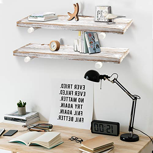 GLUCK Rustic Floating Shelves Wood Floating Shelves Floating Wall Shelves Bathroom Shelves Kitchen Shelves Home Dcor Rustic White Chipped Paint Look On Real Solid Wood 24x7x12 0 4
