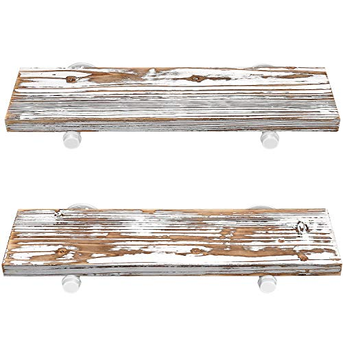 GLUCK Rustic Floating Shelves Wood Floating Shelves Floating Wall Shelves Bathroom Shelves Kitchen Shelves Home Dcor Rustic White Chipped Paint Look On Real Solid Wood 24x7x12 0