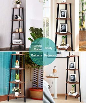 Giantex 4 Tier Corner Shelf Industrial Multipurpose Bookcase Home Or Office Storage Rack Wood Plant Stand With Metal Frame Rustic Brown 0 0 300x360