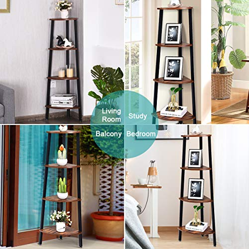 Giantex 4 Tier Corner Shelf Industrial Multipurpose Bookcase Home Or Office Storage Rack Wood Plant Stand With Metal Frame Rustic Brown 0 0
