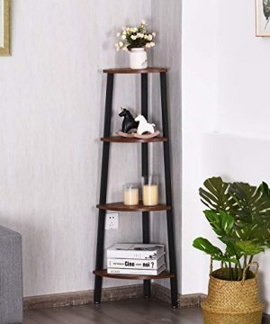 Giantex 4 Tier Corner Shelf Industrial Multipurpose Bookcase Home Or Office Storage Rack Wood Plant Stand With Metal Frame Rustic Brown 0 1 300x360