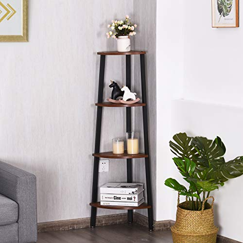 Giantex 4 Tier Corner Shelf Industrial Multipurpose Bookcase Home Or Office Storage Rack Wood Plant Stand With Metal Frame Rustic Brown 0 1
