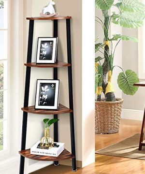 Giantex 4 Tier Corner Shelf Industrial Multipurpose Bookcase Home Or Office Storage Rack Wood Plant Stand With Metal Frame Rustic Brown 0 2 300x360