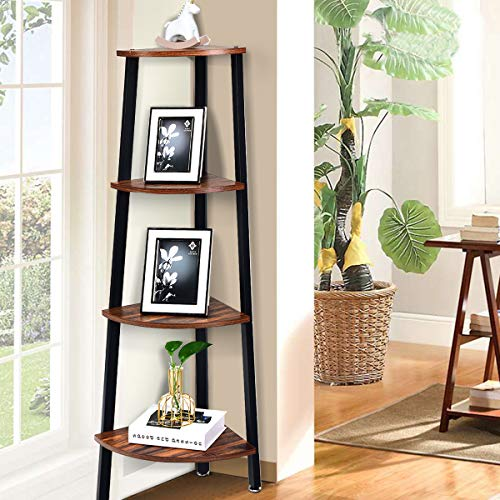 Giantex 4 Tier Corner Shelf Industrial Multipurpose Bookcase Home Or Office Storage Rack Wood Plant Stand With Metal Frame Rustic Brown 0 2