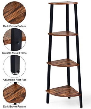 Giantex 4 Tier Corner Shelf Industrial Multipurpose Bookcase Home Or Office Storage Rack Wood Plant Stand With Metal Frame Rustic Brown 0 3 300x360