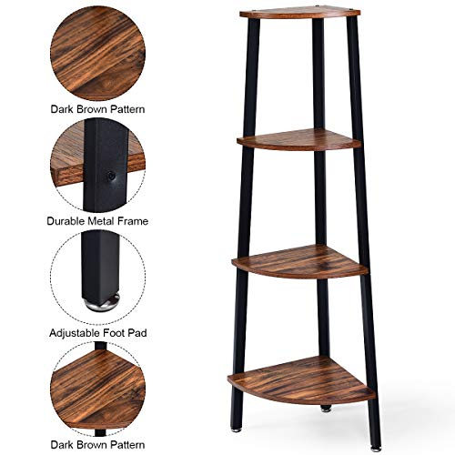 Giantex 4 Tier Corner Shelf Industrial Multipurpose Bookcase Home Or Office Storage Rack Wood Plant Stand With Metal Frame Rustic Brown 0 3