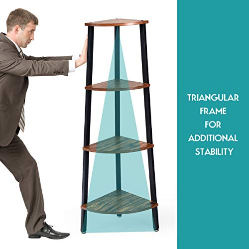 Giantex 4 Tier Corner Shelf Industrial Multipurpose Bookcase Home Or Office Storage Rack Wood Plant Stand With Metal Frame Rustic Brown 0 4