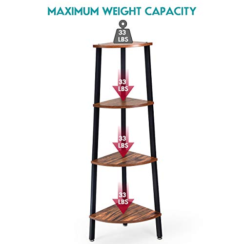 Giantex 4 Tier Corner Shelf Industrial Multipurpose Bookcase Home Or Office Storage Rack Wood Plant Stand With Metal Frame Rustic Brown 0 5