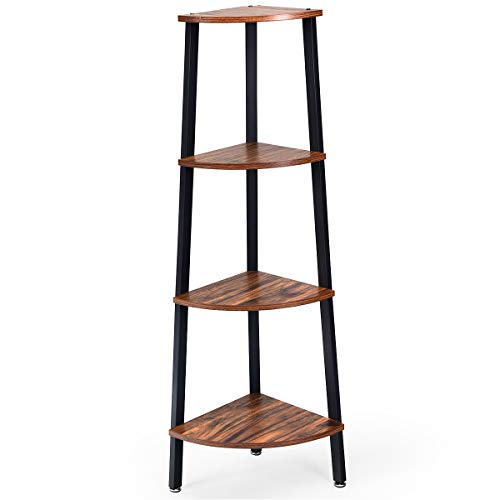 Giantex 4 Tier Corner Shelf Industrial Multipurpose Bookcase Home Or Office Storage Rack Wood Plant Stand With Metal Frame Rustic Brown 0