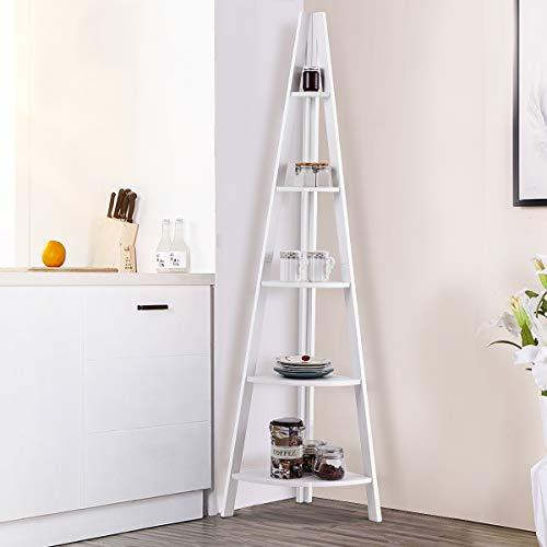Giantex 5 Tier Corner Bookcase Ladder Bookshelf Plant Stand Home Office Furniture Fan Shape Shelves Corner Storage Rack High Display Shelf White 0 1