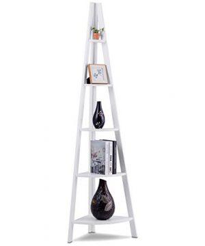 Giantex 5 Tier Corner Bookcase Ladder Bookshelf Plant Stand Home Office Furniture Fan Shape Shelves Corner Storage Rack High Display Shelf White 0 300x360