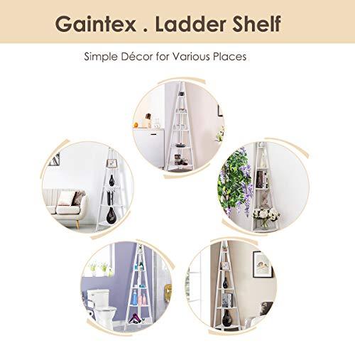 Giantex 5 Tier Corner Bookcase Ladder Bookshelf Plant Stand Home Office Furniture Fan Shape Shelves Corner Storage Rack High Display Shelf White 0 4