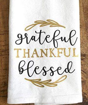 Grateful Thankful Blessed Kitchen Towel Thanksgiving Gift 0 0 300x360