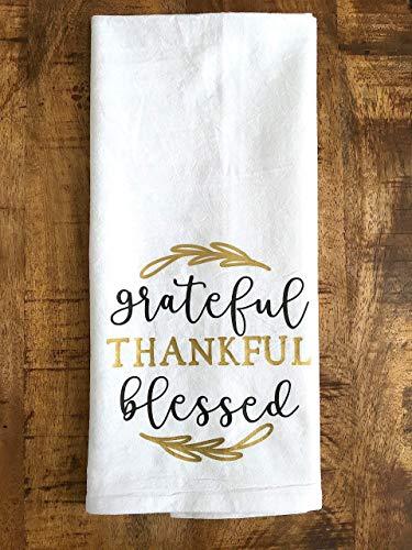 Grateful Thankful Blessed Kitchen Towel Thanksgiving Gift 0 1