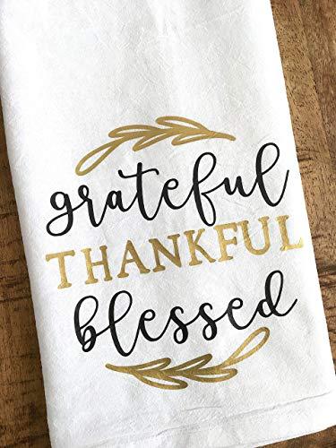 Grateful Thankful Blessed Kitchen Towel Thanksgiving Gift 0 2