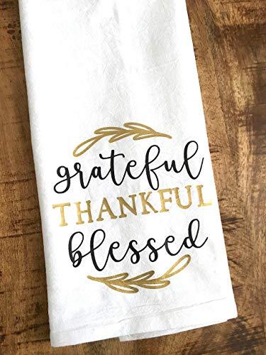 Grateful Thankful Blessed Kitchen Towel Thanksgiving Gift 0 3