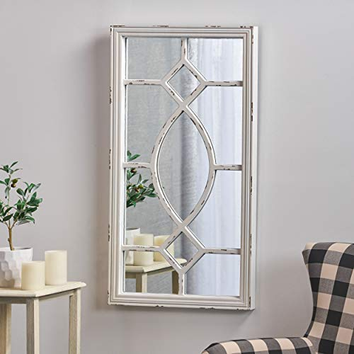 Great Deal Furniture Zoe Rectangular Wooden Rustic Farmhouse Mirror Distressed White Frame 0 0